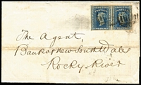 Lot 718 [2 of 5]:1850s imperf Diadem frankings on cover with 1855 to London with 1/- solo franking and 'TOO LATE' boxed handstamp, 1856 Sydney to Melbourne with 3d green, 1858 Sydney to Rocky River (NSW, Tamworth backstamp) with very fine 2d pair, 1859 to London with 1/9d tri-colour franking, etc; condition generally fair to fine, some covers ex Dale Forster. (10)