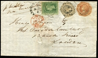 Lot 718 [1 of 5]:1850s imperf Diadem frankings on cover with 1855 to London with 1/- solo franking and 'TOO LATE' boxed handstamp, 1856 Sydney to Melbourne with 3d green, 1858 Sydney to Rocky River (NSW, Tamworth backstamp) with very fine 2d pair, 1859 to London with 1/9d tri-colour franking, etc; condition generally fair to fine, some covers ex Dale Forster. (10)