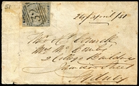 Lot 720:1851 (Apr 24) cover from Berrima to Sydney with 2d View Plate V (variety Hill unshaded) just tied by fine BN '32' cancel, Berrima and Sydney backstamps. Some discolouration, nevertheless a rare variety on cover. Ex Forster.