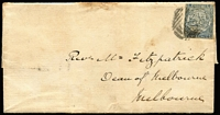 Lot 719:1851 (Jan 31) Outer with 2d View Plate IV variety Hill not shaded [R 1/12] SG #32a Sydney & Melbourne/Port Phillip backstamps. Rare variety on cover. Ex Forster.