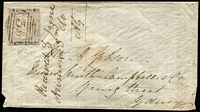 Lot 722:1851 (Jun 3) cover from Goulburn to Sydney with 2d View Plate IV laid paper variety No clouds SG #34c tied by BN '35' cancel, cover with tiny piece missing at lower left, nevertheless a rare variety on cover. Ex Forster.