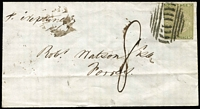 "Lot 723:1852 (Jul 26) small cover rated ""8"" to Forres (Scotland) per ""Neptune"" with 3d View tied by Sydney bars cancel, on reverse Ship Letter Sydney departure and Forres arrival datestamps. Ex Forster."
