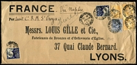 Lot 1082 [2 of 2]:1900 & 1905 non-standard covers from Louis Gille & Co correspondence to head office in Lyons, franked 2/11d and 1/10½d, Late fees of 5d and 2½d, respectively, applied to lower left corners. Rare duo. [GPO Late Fee box attracted 2½d, if posted in Central Railway late letter box, up to one hour after GPO box closure, fee was 5d] (2)