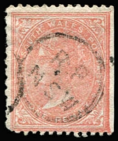 Lot 1063 [2 of 3]:1871-1902 Wmk 1st Crown/NSW Watermark inverted trio comprising P13 1d (rare), 2d and 6d (rare). Only a couple of examples of 6d are recorded. Ex Hutson. (3)