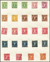 Lot 450 [3 of 4]:1880s-1920s Accumulation with QV Second Sidefaces to 1/-, KEVII to 8d x5 & 1/- x2, KGV duplicated to 1/- with shades; also postmarks with lots of identified strikes including Aria, Kawhia, Matamai, Peria & Tolaga Bay all on 1½d victory pairs; worthy of closer inspection. (few 100s)