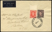 Lot 1247:1947 (May 26) airmail cover to Sydney with Australia 2½d & 3d KGVI tied by superb strike of 'NORFOLK ISLAND/26MY47'.