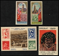 Lot 117:Trading Cards: Australia-themed trading cards, originating in Europe, all but one with 'stamp' iilustrations forming part of the design, fine condition. (4)