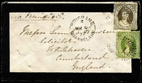 Lot 1103:1872 (Mar 6) mourning cover to England with 3d & 6d Chalons tied by 'QL'-in Rays cancels with Brisbane 'MR6/72' datestamp alongside, Whitehaven arrival backstamp. Lovely item.