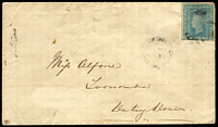 Lot 1093:1860 (Aug 22) cover to Toowoomba with rare usage of 2d Diadem Pl II SG #114 tied by indistinct rays cancel with discernible 'GOODES INN/22AUG/1860/NSW' datestamp beneath. Rare.