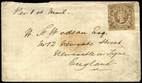 Lot 1094:1860 (Jan 3) cover to England with Large Diadem Wmk '8' SG 93a with Rays '95' cancel, backstamped at Brisbane & Sydney with Newcastle on Tyne arrival datestamp.