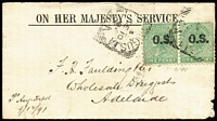 Lot 842:1891 (Dec 10) Cover to Adelaide with 1d green optd 'OS' pair tied by Port Augusta squared-circle datestamp, 'P.A. RAILWAY/DE11/91' squared-circle datestamp on reverse.