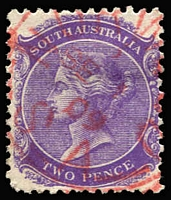 Lot 334 [2 of 4]:Rated Squared-Circle Datestamps with 'ISLINGTON' large-part 1912 strike on 1/- Long Tom and 'T.R. HEAD CAMP' part-strikes on 2d orange, both Rated 3R; large-part 'MANOORA' on 2d orange Rated R; also Type SC6 'NORWOOD' squared-circle strike in red on 2d violet. (4)
