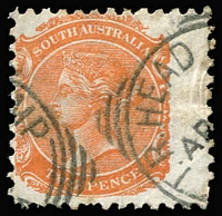 Lot 334 [3 of 4]:Rated Squared-Circle Datestamps with 'ISLINGTON' large-part 1912 strike on 1/- Long Tom and 'T.R. HEAD CAMP' part-strikes on 2d orange, both Rated 3R; large-part 'MANOORA' on 2d orange Rated R; also Type SC6 'NORWOOD' squared-circle strike in red on 2d violet. (4)