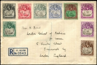 Lot 1675:1922-37 Badge ½d to 1/- SG #97-106 on 1938 (Apr 25) registered cover to London, fine condition.