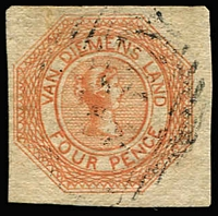 Lot 1255:1853 Imperf Courier Plate II 4d dull orange SG #11, miniscule thin spot, four good to large margins, lightly struck BN cancel. Cat £375.