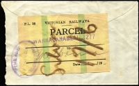 Lot 928:1936 cover endorsed 'Press Parcel, to The Age (Melbourne) bearing Victorian Railways Parcel label, handstamped 'WARRACKNABEAL', tied by 'THE AGE/6 DEC 1936/(RECEIVING CLERK)' handstamp.