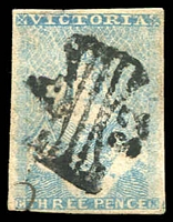 Lot 849:1850-53 Half-Length Ham 1st State 3d blue SG #4a, thinning under 'ICT' of 'VICTORIA', complete margins, Butterfly '32' cancel of Portland (Rated 2R), Cat £450.