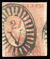 Lot 852:1854 Half-Length Campbell & Co 1d orange-red SG #23, very close (at base) to large margins, BO '2' cancel, Cat £140.