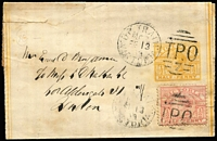 Lot 984 [3 of 6]:1870s-1900s: Range of covers, postal stationery and PPCs, with datestamps mostly used as cancellers but also some transits, noted 'UP TRAIN/MG7' on PO 'Registered Letters ...' form with '.../MG2' d/s alongside proving connection between these two services, '.../MG8' on Solicitor-General Frank Stamp circular, various octagonal 'DOWN TRAIN' types including 'MG2' (Rated R), 'MG3' (2R), 'GM4' error (3R) on cover with 2d Bell x2 tied 'TPO/4' obliterator, 'MG6' both types (2R and S), 'MG7' (4R), 'MG8' (3R) and 'MG13' (4R), also 'ENGLISH MAIL TPO/IN' on 1908 British PPC, etc; some duplication, quality of strikes and condition varies but many are fine. (92 items)