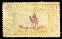 Lot 955 [2 of 3]:1896 Coolgardie Cycle Express Co: 6d, 2/- & 5/-, the 6d & 5/- with fine strikes of the two-line Express cancel in violet, 2/6d with a dubious registered datestamp. Rare as a used set. BPA Certificate (1967) for the 5/-. (3)