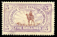 Lot 955 [1 of 3]:1896 Coolgardie Cycle Express Co: 6d, 2/- & 5/-, the 6d & 5/- with fine strikes of the two-line Express cancel in violet, 2/6d with a dubious registered datestamp. Rare as a used set. BPA Certificate (1967) for the 5/-. (3)