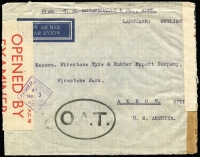 Lot 997:1942 (Dec 8) airmail commercial cover to USA with 1r12a franking (on reverse) tied by Aden Camp datestamps, dual censored with Aden PC90 tape and 'PASSED CENSOR/BY/No 3/ADEN' diamond handstamp, also censored in London where Type II 'OAT' cachet (oval 53½x34½mm, square stops after letters increasing in size) in black applied, being the earliest known date of usage, some 3½ months before Heifetz's ERD. Likely routing of this cover fully descibed in vendor's type annotations.