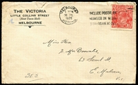 Lot 297 [2 of 4]:1927-28 KGV 1½d Red Covers all sent from Melbourne to destinations within Victoria, five are printed covers for 'The Victoria' (Hotel) in Little Collins Street, stamps unchecked for flaws, mixed condition. (12)