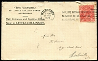 Lot 297 [3 of 4]:1927-28 KGV 1½d Red Covers all sent from Melbourne to destinations within Victoria, five are printed covers for 'The Victoria' (Hotel) in Little Collins Street, stamps unchecked for flaws, mixed condition. (12)