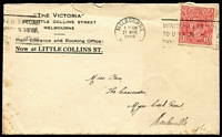 Lot 297 [1 of 4]:1927-28 KGV 1½d Red Covers all sent from Melbourne to destinations within Victoria, five are printed covers for 'The Victoria' (Hotel) in Little Collins Street, stamps unchecked for flaws, mixed condition. (12)