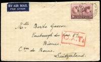 Lot 505:1945 (Dec 4) airmail cover to Switzerland with 1/6d Hermes solo tied by Armadale (Vic) datestamp. The cover travelled on PanAm FAM-19 (service recommenced on Dec 1) via Auckland, Suva, Canton Island & Hawaii, then to Baltimore via New York, then to London with BOAC via Bermuda, Azores & Lisbon, Type X 'OAT' cachet applied in London, then on to Geneva Switzerland by Swissair, then by train to Berne.