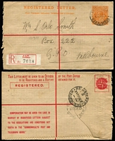 Lot 307 [3 of 7]:1917-60 Range including KGV 4d orange #RE8 used (to Orlo Smith, stamp dealer), 1922 5d Brown #RE12 x2 (one uprated with 2d KGV), 4½d (Text in red) #RE20, 4½d violet #RE21 x2 (one uprated ½d on '4AU30' - first day of rate change), 4½d Long Type #RE22 uprated, 5d on 4½d #RE 25 uprated; later items include KGVI 8½d #RE34 uprated used from Lima East (Vic), 9d #RE35 unused, also 1954 use of 2½d Envelope for Education Department (Melbourne) uprated with ½d Roo perf 'VG' pair. Useful lot. (15)