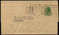 Lot 590:1942 1½d Green KGVI Sideface BW #WS25 for user Stock Exchange of Sydney with 1946 (Aug 13) machine cancel, sent locally with typed address, Cat $200.