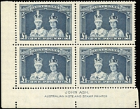 Lot 95 [3 of 25]:1913-65 Valuable Collection in three volumes with Kangaroos including Third Wmk 1/- Sideways watermark blocks of 4 x2, Small Mult Wmk 6d blocks of 4 x2, 9d blocks of 4 and 12, 2/- corner block of 4, CofA Wmk to £1, Specimen overprint sets x3, KGV 1d Engraved x10 (incl two blocks), 6d x15 (incl three blocks), CofA wmk set to 1/4d, 1927-36 commemorative issues largely complete in blocks of 4, some additional imprints, 3d Kookaburra M/Ss in blocks of 4 and block of 9, 5/- Bridge Imprint strip of 3, 1937-52 KGVI issues largely complete in blocks of 4, some with imprints include Robes thick paper set, Arms to £2, etc, 1953-65 QEII complete in blocks of 4, including 5/- Cattle white paper Navigators set of 6, also SPECIMEN opts on 10/- and £1 Robes, Arms set (£2 block with Roller flaws), etc, occasional fault, condition mostly fine to superb. Wonderful collection, see extensive images at front of catalogue. (100s)