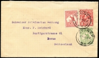 Lot 171 [1 of 2]:1913-14 Engraved KGV 1d Carmine Red on plain FDC, uprated with ½d and 1d Kangaroos, tied by 'SYDNEY/9DEC13/50' datestamps, used to Switzerland, Fred Hagen (stamp dealer) red/white sealing label on reverse, correct ½oz usage to a foreign country, BW #59ya, Cat $7,500. Rarer than Kangaroo 1d red FDC, which catalogues at $15,000.