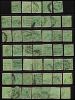 Lot 188 [1 of 4]:½d Green & ½d Orange Accumulation on Hagners, all watermarks represented, unchecked for varieties and postmarks, few ½d orange multiples, private and Official perfins noted, condition variable. (Approx 500).