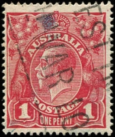 Lot 340 [2 of 2]:1d Brown-Red (G32) Smooth Paper BW #71W x2 (one perf 'OS/NSW'), characteristic very bright red u/v reactions, Cat $400. (2)