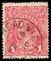 Lot 637:1d Pink (G28) Smooth Paper BW #71T, VFU with Low Head (Tas) 'FE13/18' datestamp, Cat $75. Starling Certificate (2015).
