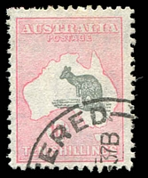 Lot 259:10/- Grey & Pink Kangaroo significantly displaced to SE corner of Map with tail in the sea off NSW coast, some nibbed perfs, well centred, tidy registered datestamp.