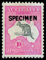 Lot 220:10/- Grey & Deep Aniline Pink Type B 'SPECIMEN' overprint, BW #48Bx, lovely rich colour, very well centred, Cat $600.