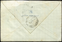 Lot 702 [2 of 2]:1931 Kingsford Smith 6d Violet BW #143 solo franking tied by Late Fee Melbourne '30AP31' datestamp to airmail cover (Karachi-Italy) addressed to Genoa (arrival backstamp), minor edge toning on stamp. Very scarce commercial solo franking.