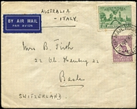 "Lot 713 [1 of 2]:1936 1/- SA Centenary BW #173 plus CofA 9d Roo on cover to Switzerland endorsed ""AUSTRALIA - ITALY"" for airmail service, stamp tied by Ship Room Melbourne '26NO36' datestamp. Attractive colour combination franking, few trivial tonespots."