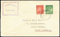 Lot 386:1937 Coronation 1d QM & 2d KGVI tied by Norwood (SA) FD datestamp to Smith (Frank P) FDC with distinctive cachet in violet, typed address to Smith.