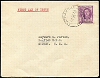 Lot 408:1944 2d Purple KGVI tied by Matraville (NSW) '4DE44' FD datestamp to plain Parish (Hayward) FDC, stamp edges with some tones, Earliest recorded Parish FDC.