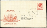 Lot 816 [1 of 3]:Bodin (Rex) 1952 4½d Red KGVI tied by Fitzroy North 20FE52 FD datestamp to generic FDC, typed address to South Australia.