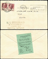 Lot 790 [1 of 2]:1957-59 4d Claret BW #319 pair paying surface rate on MI Fitzgerald (stamp dealer) 1957 (Jun 24) surface rate cover to Algeria, also block of 6 paying airmail rate on 1959 (Apr 24) cover to France. Nice usage duo.