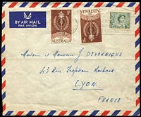 Lot 806 [2 of 4]:1961 1/- Colombo Plan BW #382 on-cover selection comprising 1962 solo usage on airmail cover to Penang, 1964(?) x2 plus 3d QEII paying airmail rate to France, 1965 pairs x2 plus 3d QEII paying airmail rate + registration to Germany; also with 8d Tiger Cat on 1965(?) on PM's Dept oversized printed matter cover Canberra to Elsternwick. (4)