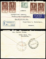 Lot 806 [3 of 4]:1961 1/- Colombo Plan BW #382 on-cover selection comprising 1962 solo usage on airmail cover to Penang, 1964(?) x2 plus 3d QEII paying airmail rate to France, 1965 pairs x2 plus 3d QEII paying airmail rate + registration to Germany; also with 8d Tiger Cat on 1965(?) on PM's Dept oversized printed matter cover Canberra to Elsternwick. (4)