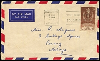 Lot 806 [1 of 4]:1961 1/- Colombo Plan BW #382 on-cover selection comprising 1962 solo usage on airmail cover to Penang, 1964(?) x2 plus 3d QEII paying airmail rate to France, 1965 pairs x2 plus 3d QEII paying airmail rate + registration to Germany; also with 8d Tiger Cat on 1965(?) on PM's Dept oversized printed matter cover Canberra to Elsternwick. (4)
