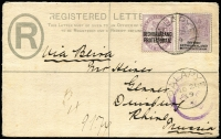 "Lot 1692 [1 of 2]:1899 (Nov 26) use of COGH Size F 4d Registration Envelope optd 'BECHUANALAND/PROTECTORATE.' in thick letters H&G #5, endorsed ""Via Beira"" addressed to Prussia, with 1d lilac SG #61 & 3d lilac & black added and tied by Proud Type D3 'PALAPYE/NO21/99' datestamp with another fine strike below, on reverse the 4d indicia tied by Type D1 'PALAPYE STATION/26NO/99/BP' datestamp, Duisberg '23/1/00' arrival backstamp; opened on three sides, fine condition."