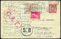 Lot 1334:1945 (Feb 21) 1fr Postal Card uprated 1fr for airmail transit from Brussels (where censored) to Stockholm, Type I 'OAT' cachet applied in London, flown from Scotland to Stockholm by BOAC De Havilland Mosquito, as Norway still under occupation by Germany.
